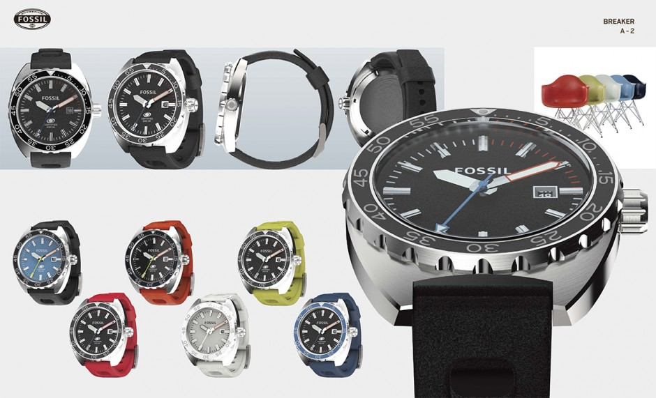 Fossil Breaker watches rendered in KeyShot