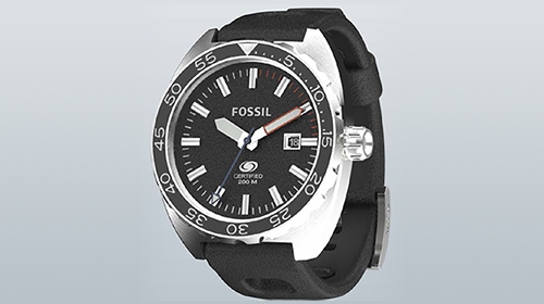 Fossil Breaker watch rendered in KeyShot
