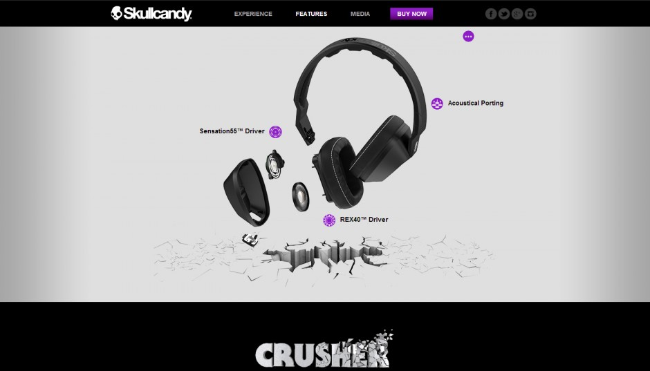 The Skullcandy Crusher interactive mini-site
