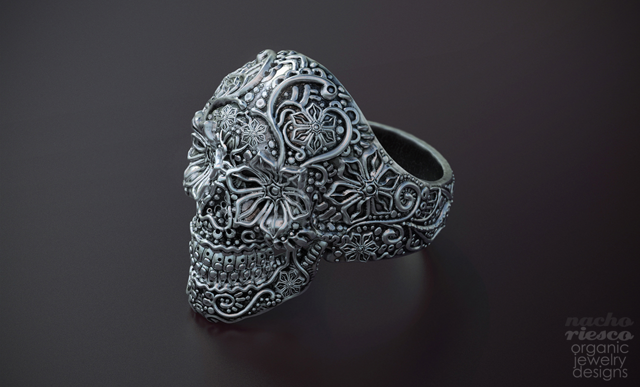 jewelry-nacho-riesco-keyshot-sugar-skull-ring
