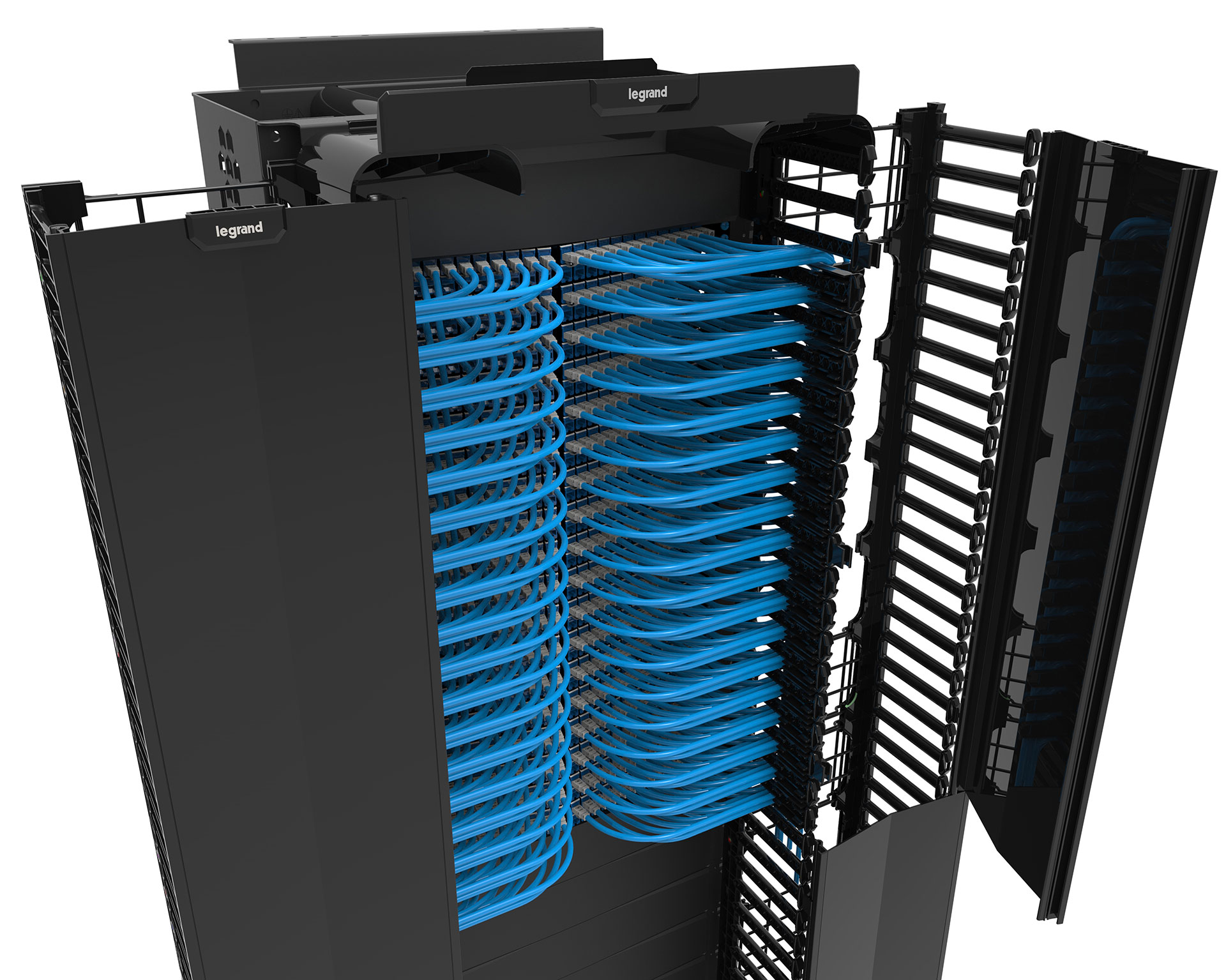 Legrand rack cable manager rendered in KeyShot